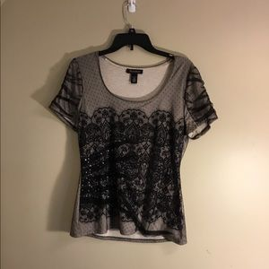 WHBM embellished lace overlay tee size L